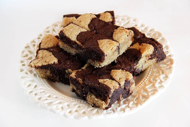 Peanut butter and chocolate swirled brownies.